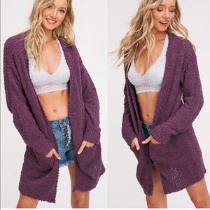 SKYLAR Softest Breathable Cardigan - PLUM